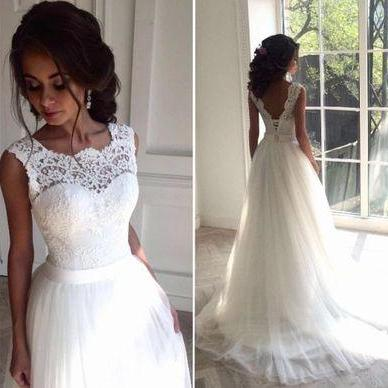 New Arrival White Lace Wedding Dres..