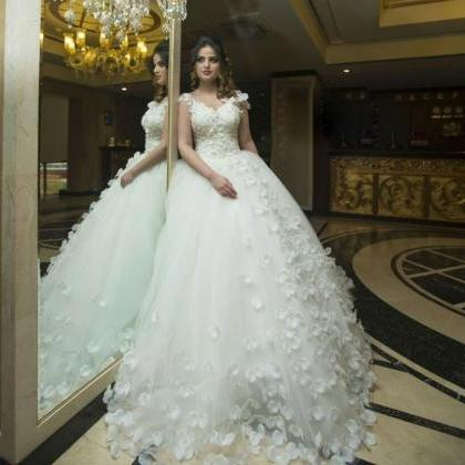 Luxury Lace Bodice Flower Ball Gown..