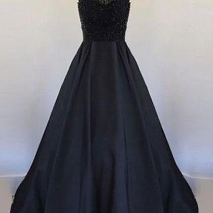 Long Black Satin Prom Dresses Halte..