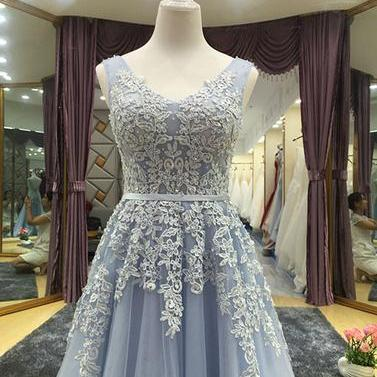 Elegant A line Tulle Lace Long Prom..