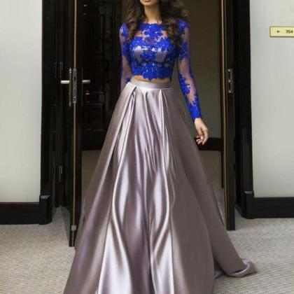 A-line Scoop Floor-length Prom Dres..