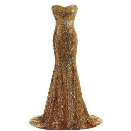 Sexy Gold Sequined Mermaid Prom Dre..