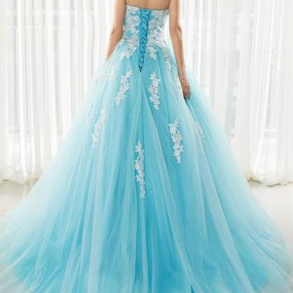 Plus Size Sky Blue Prom Dresses 201..