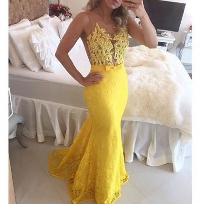 New Arrival Yellow Lace Mermaid Pro..