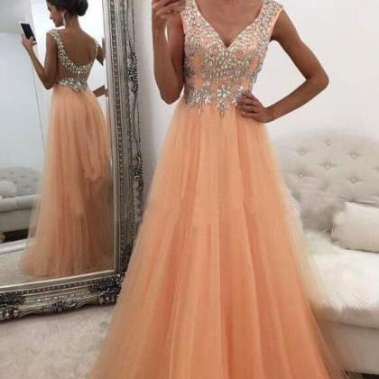 Sexy V-neck Prom Dress,Tulle Prom D..