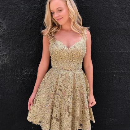New Arrival Gold Lace Short Prom Dr..
