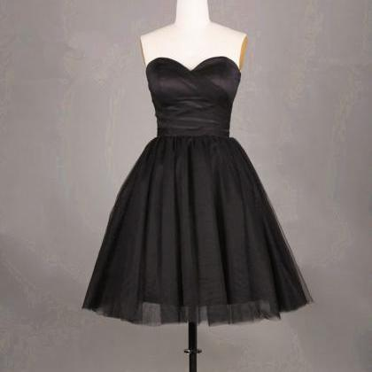 Simple and Cute Black Short Tulle P..