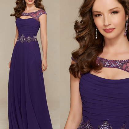 Vintage purple chiffon beaded long ..