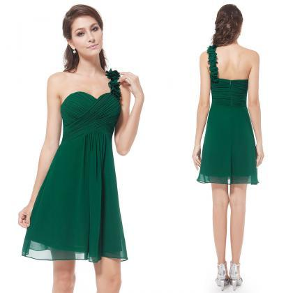 One Shoulder Green Chiffon Girls Ho..