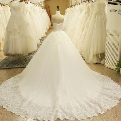 New Arrival White Lace Pricess Wedd..