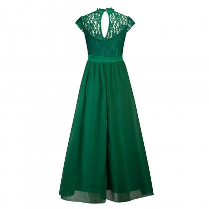 Green Lace Long Prom Dress Cheap Ch..