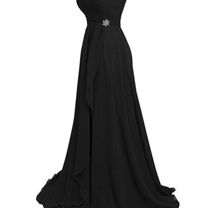 Black chiffon Long Bridesmaid Party..