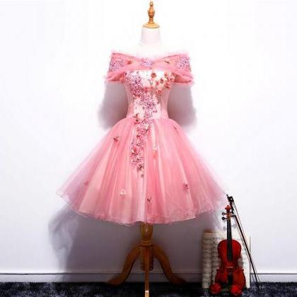 Ball Gowns Short Pink Organza Homec..