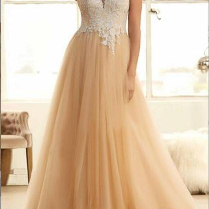 Fashion Champagne Tulle Prom Dress ..