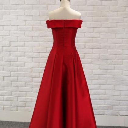 Off Shoulder Red Satin Long Prom Dr..