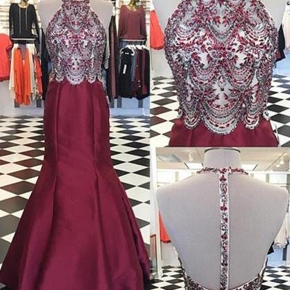 Luxury Beaded Crystal Burgundy Sati..