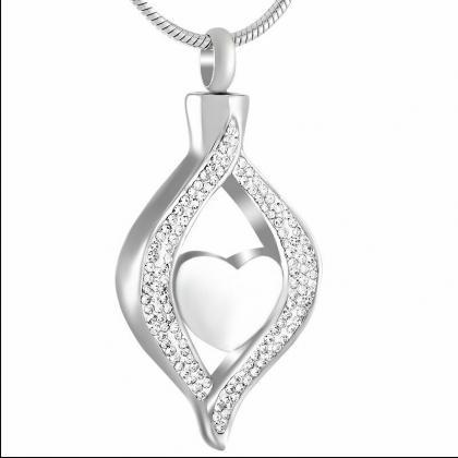 Crystal Teardrop Hold Heart Stainle..