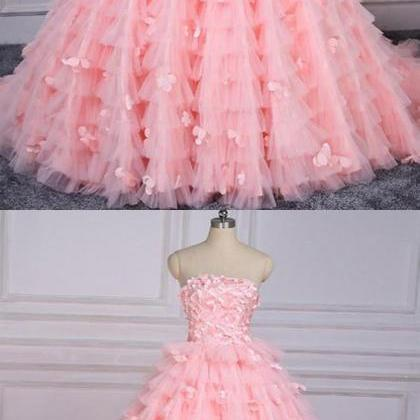 Off the Shoulder Pink Tulle Long Pr..