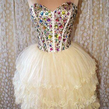 Luxuty Crystal Beaded Tulle Short H..