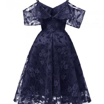 Cheap Navy Blue Short Lace Dress A ..