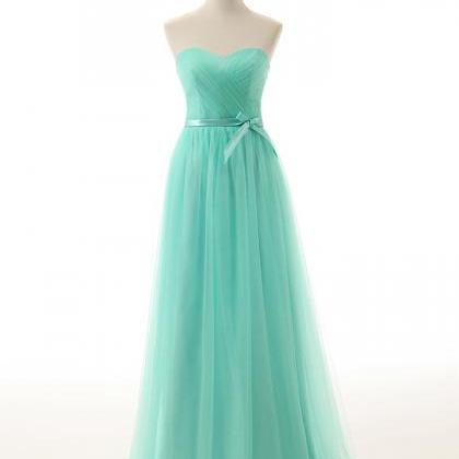 Cheap Mint Green Tulle Long Bridesm..