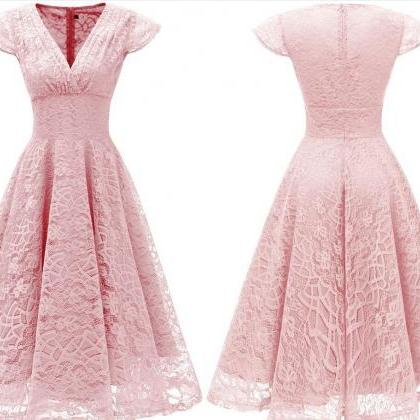 Light Pink Short Soft Lace Prom Dre..
