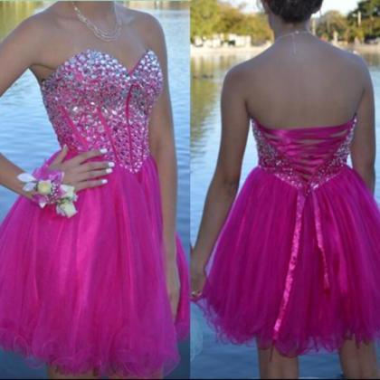 Off Shoulder fuchsia Beaded Crystal Short Homecoming Dress Pricess Cheap pARTY Gowns,Wedding Guest Gowns