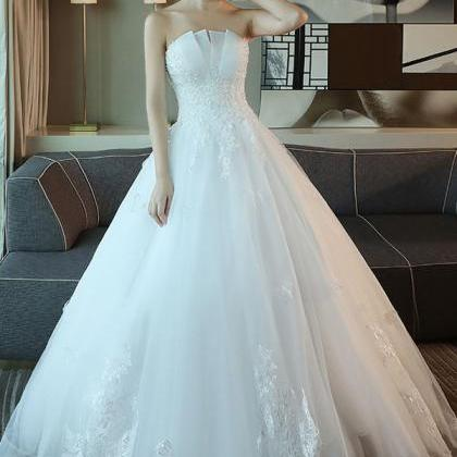 White Beaded Ball Gown Wedding Dresses 2020 Cheap Pricess Country Wedding Gowns, Bridal party Gowns