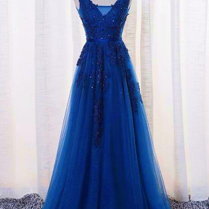 Sexy V-Neck Lace Long Prom Dresses ..