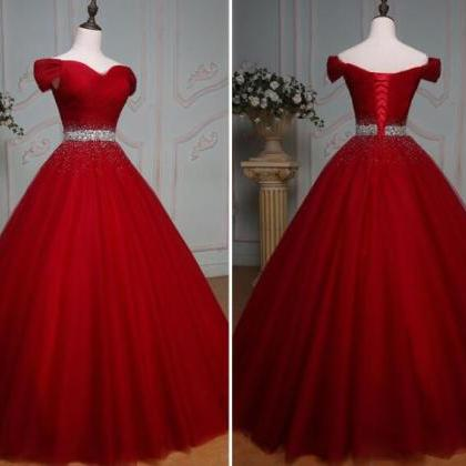 Elegant Burgundy Tulle Beaded A Lin..