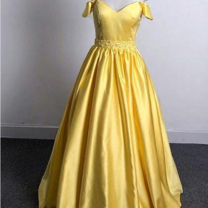 Shiny Beaded Yellow Satin A Line Pr..