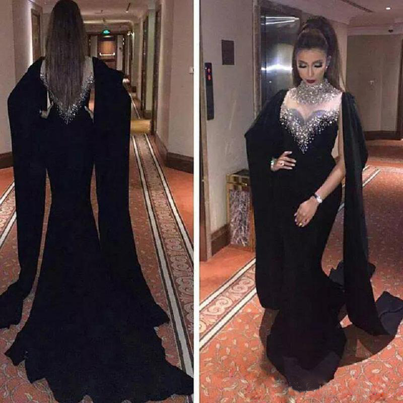 22f333e3f1e60 Black Chiffon Long Prom Dresses With Beaded Hamd Made Sexy Cape Style  Latest Mermaid Evening Gowns Plus Size Dubai Arabic Party Dresses Plus Size  ...