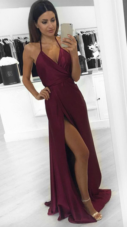 Sexy Burgundy Satin Long Prom Dresses With High Split Off Shoulder Ruffle Formal Prom Dress With Litter Train Women Evening Gowns