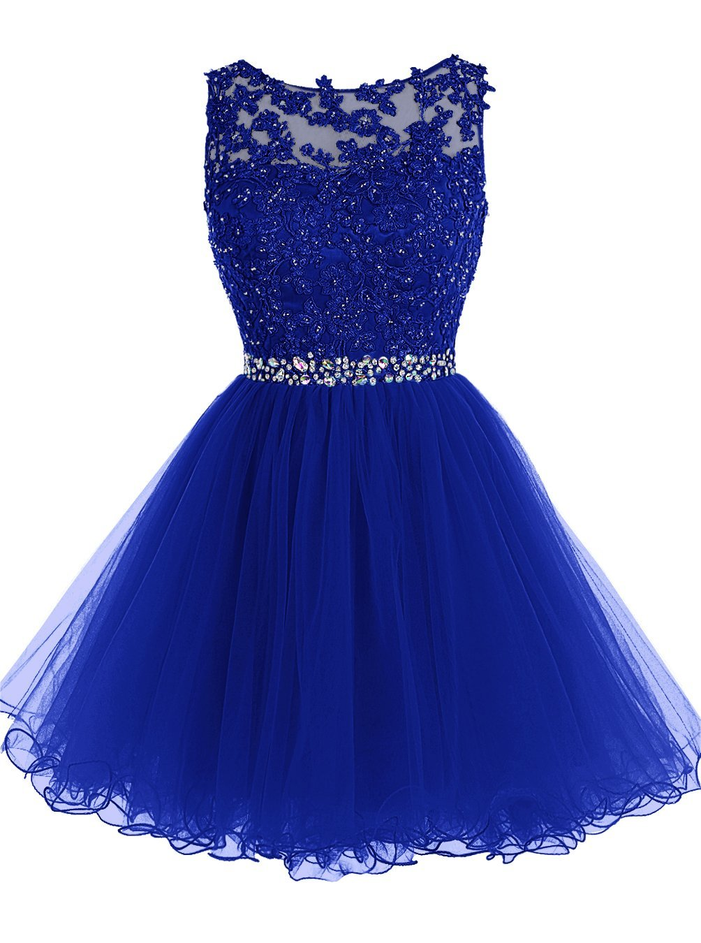 034d21e486c0 Vintage Crystal Tulle Short Prom Dresses Lace Appliqued Sheer Sexy Girls  Mini Homecoing Dress Junior Off Shoullder Party Dress Royal Blue