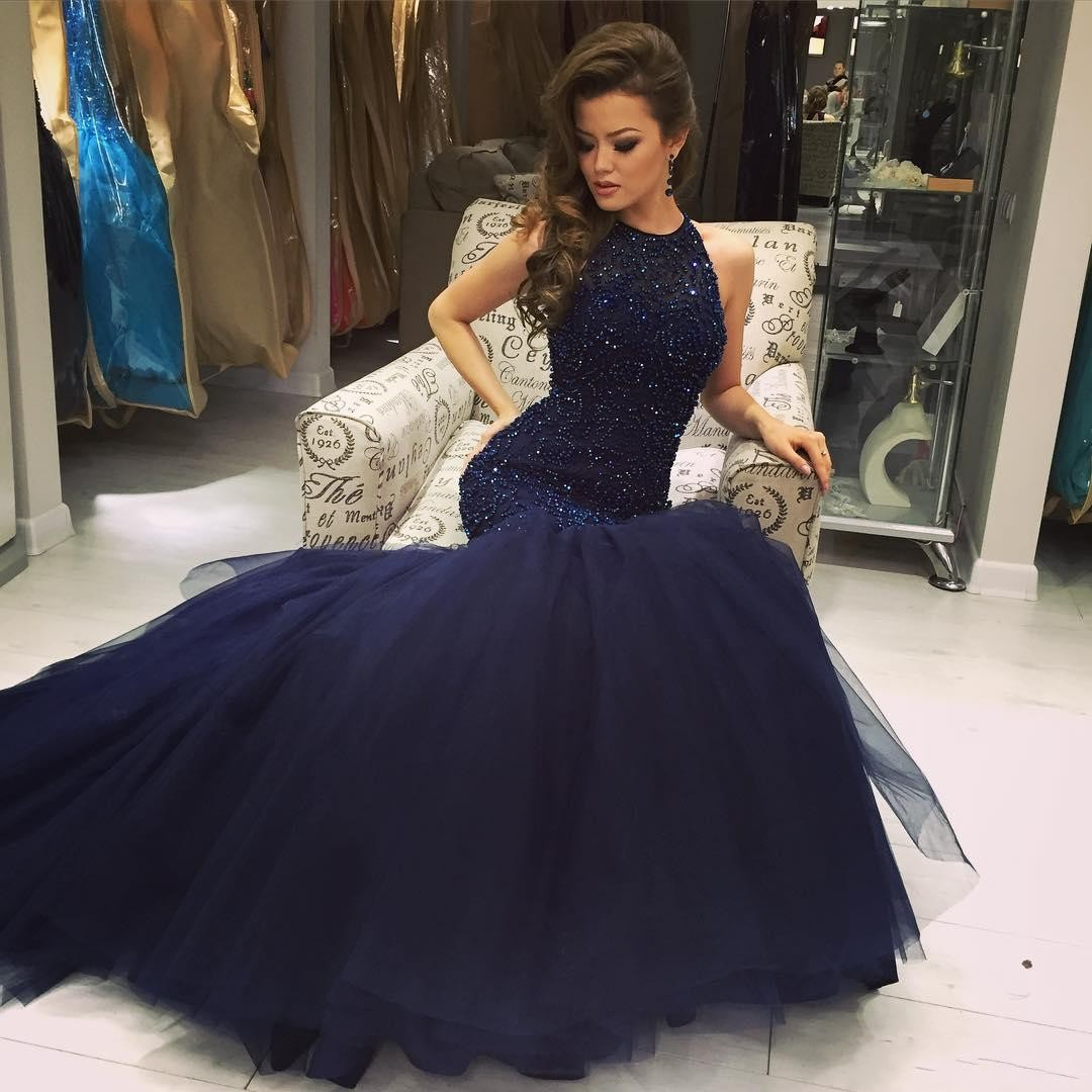 Luxury Beaded Crystal Tulle Prom Dresses Mermaid Navy Blue ...
