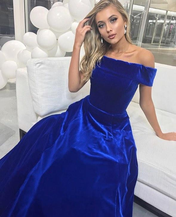 Plus Size Royal Blue Arabic Evening Dresses Off Shoulder Ball Gown Prom  Dresses Women Party Dresses Custom Made