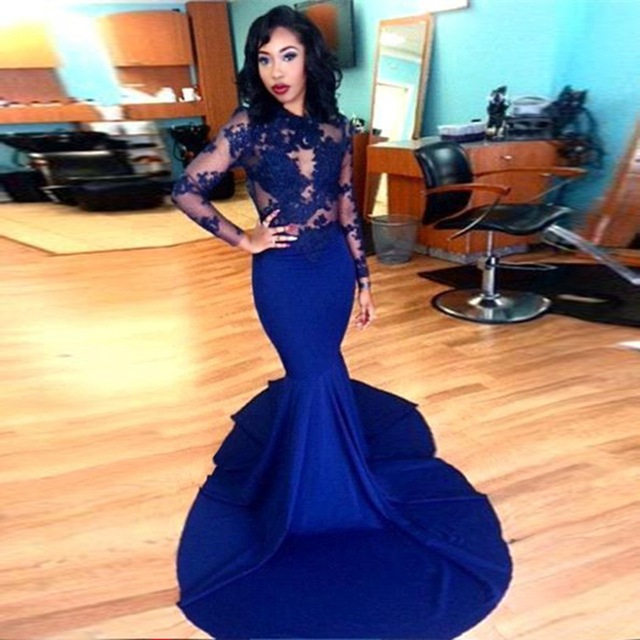 Long Sleeve Prom Dresses 2018 Gorgeous O-neck Top Lace Floor Length Satin  Mermaid Royal Blue Prom Dress Lace Appliqued Sheer Evening Dresses Arabic c33c5b03d2bc