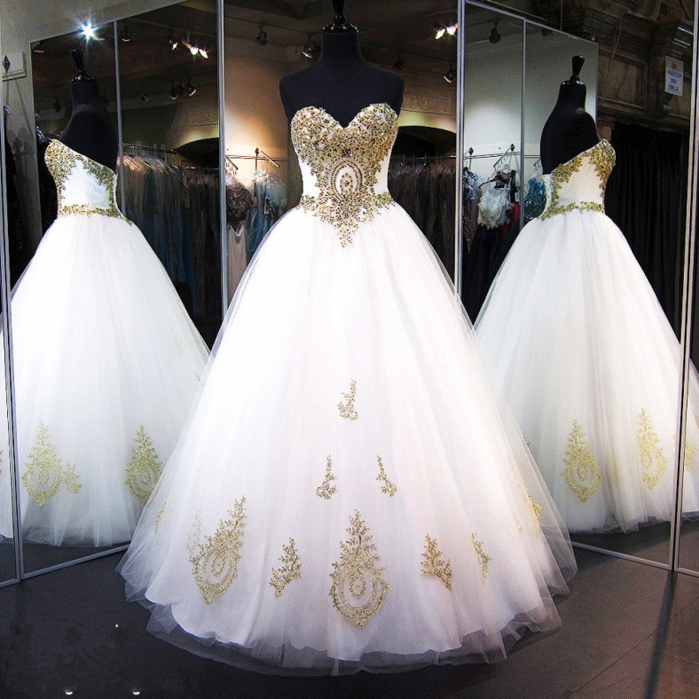 Romantic White Ball Gown Wedding Dresses 2017 Gold Lace Appliques Beaded Crystal Bridal Gowns Vestido de Noiva Wedding Gown,Gold Lace Appliqued Wedding Gowns
