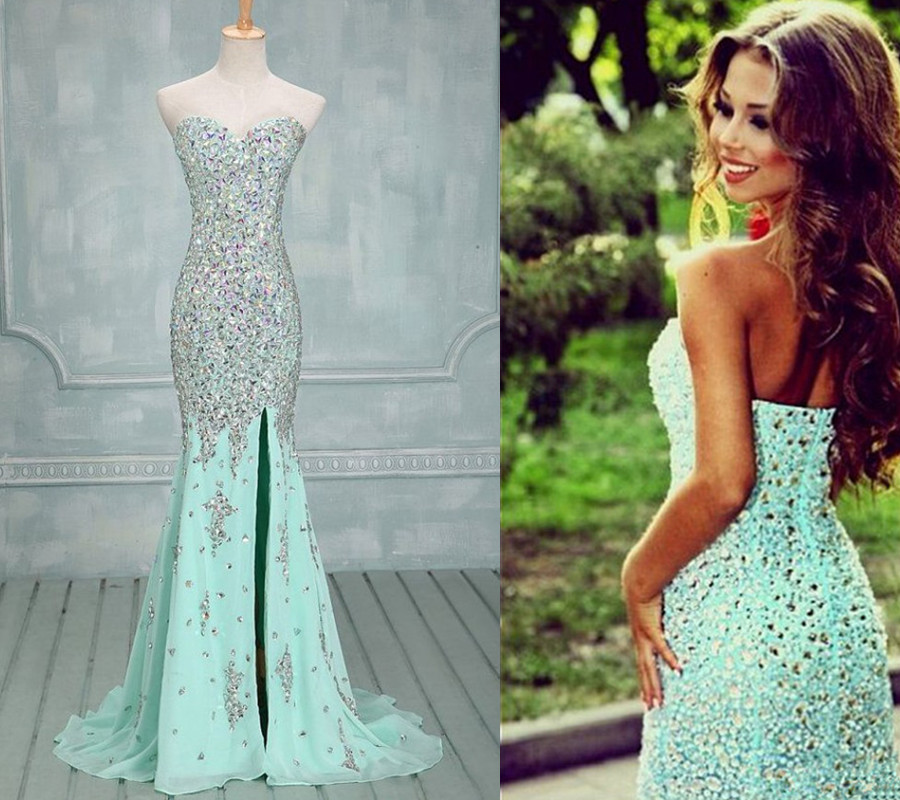 Gorgeous Prom Gown,Front Slit Prom Gown,Beaded Prom Gowns,Sequin ...
