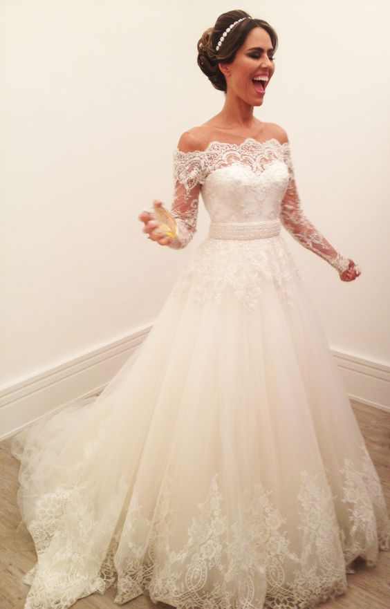 A Line Wedding Dress, Off The Shoulder Wedding Dress, Lace Sleeve ...