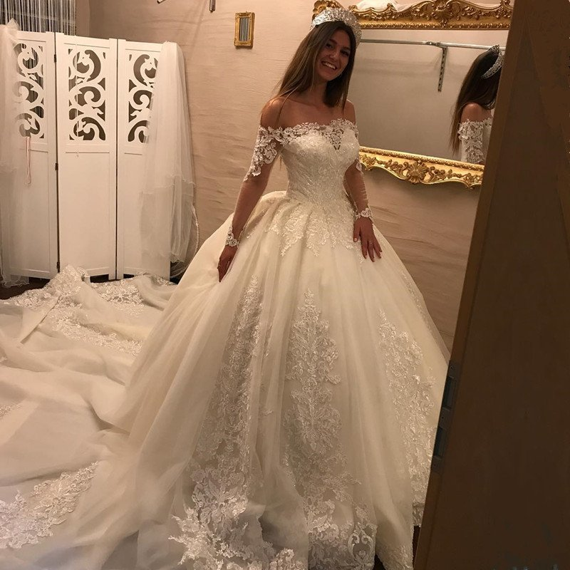 682c5cb3c982 2018 Luxury Plus Size Lace Wedding Dresses High Quality Off Shoulder Women Wedding  Gowns With Long Sheer Sleeve Appliqued Arabic Bridal Gowns ,Royal Train ...