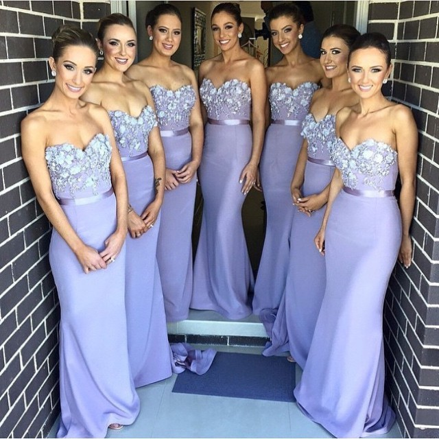 Lavender Bridesmaid Dresses Mermaid 2018 New Arrival Hand Make Flowers Maid Of Honor Dress Long Party Gowns For Weddings High Quality
