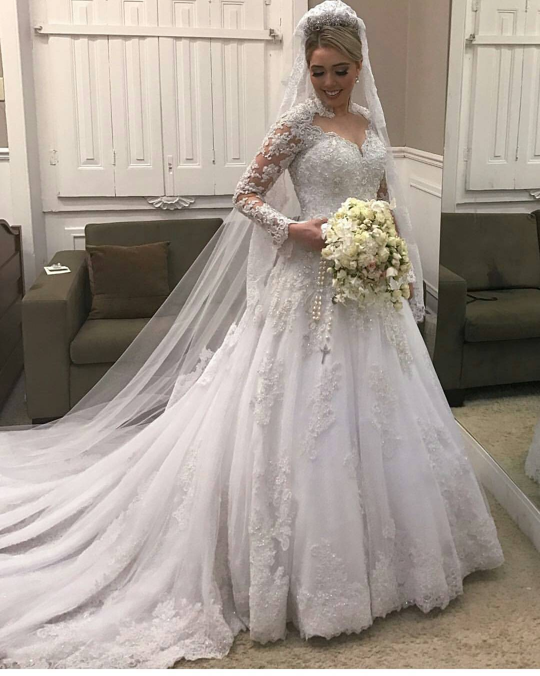 High Neck Lace Long Sleeves Wedding Dress ,Illusion Back Bridal Gown ...
