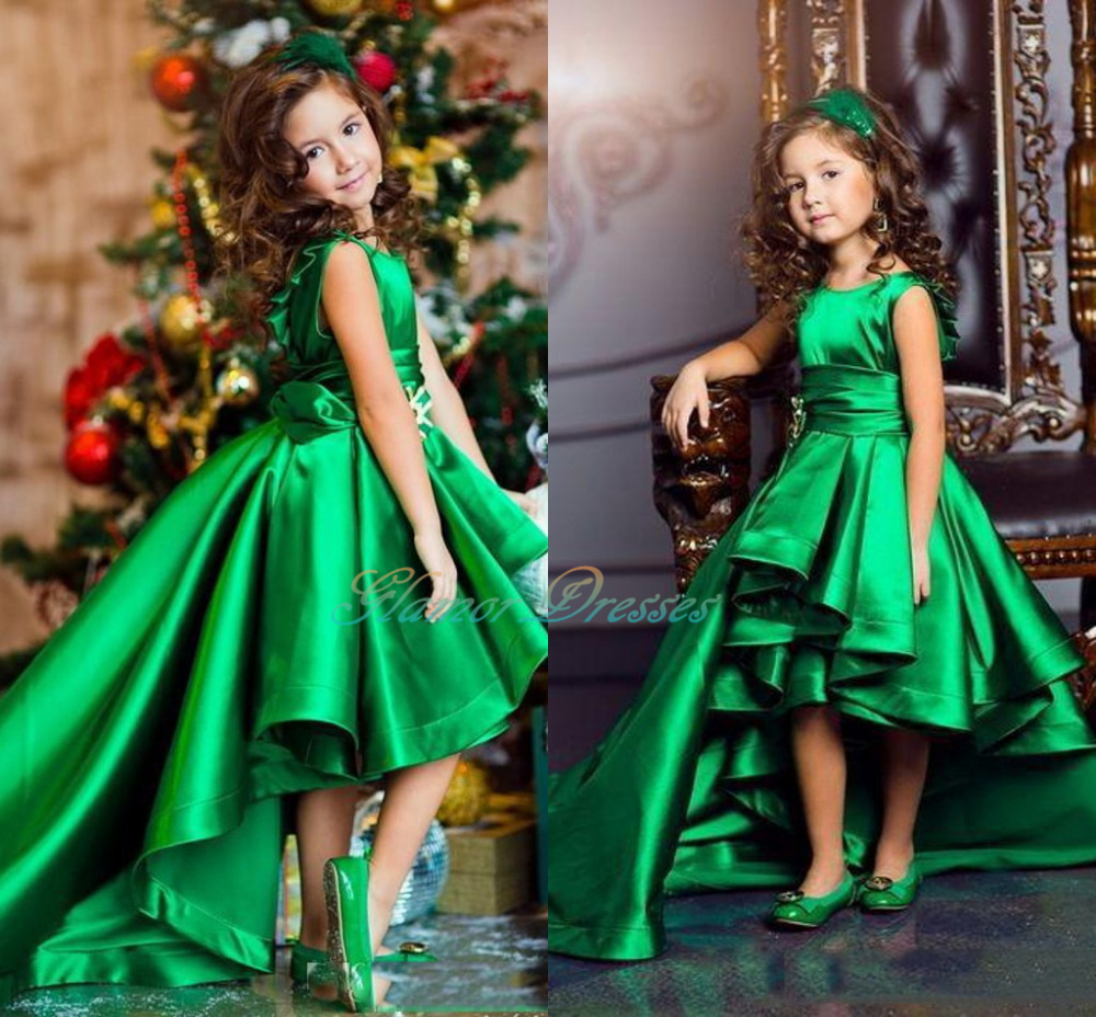 Emerald Green S Pageant Dresses High Low Princess Flower For Weddings Lovely Kids 2018 Communion Custom Made Satin