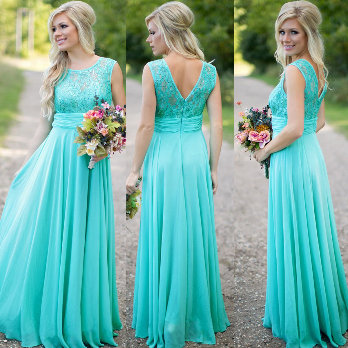 0b497e85105e Turquoise Blue Bridesmaid Dress, Lace Bridesmaid Dress, Long Bridesmaid  Dress, Wedding Party Dress, Cheap Bridesmaid Dress, Chiffon Bridesmaid Dress,  ...