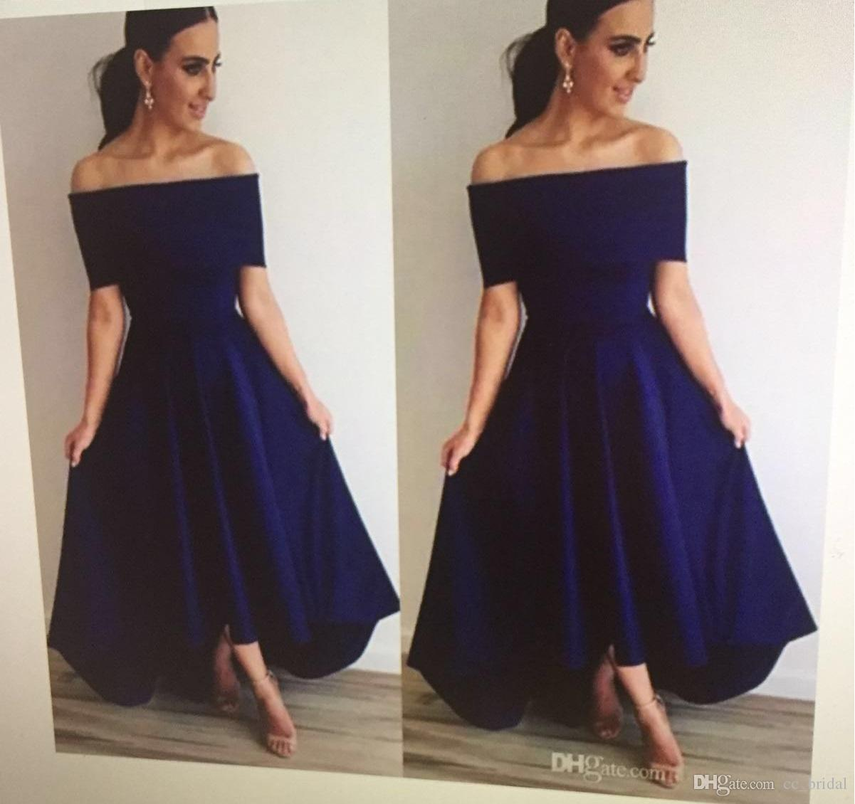 Strapless Navy Blue Bridesmaid Dresses 2018 With Sexy Off Shoulder Maid Of Honor Dress For Weddings Cheap Hi Low Dresses For Wedding Guest Long