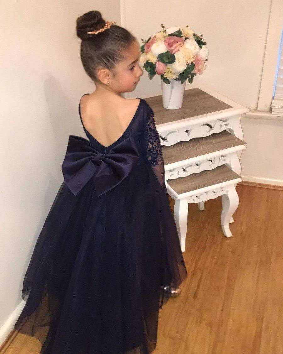 ff3a84fb6481 Lovely Dark Navy Tulle Backless Flower Girl Dresses with Long Lace Sleeves  2018 New Arrival Lace Flower Girls Gowns Sexy Backless Wedding Kids Gowns