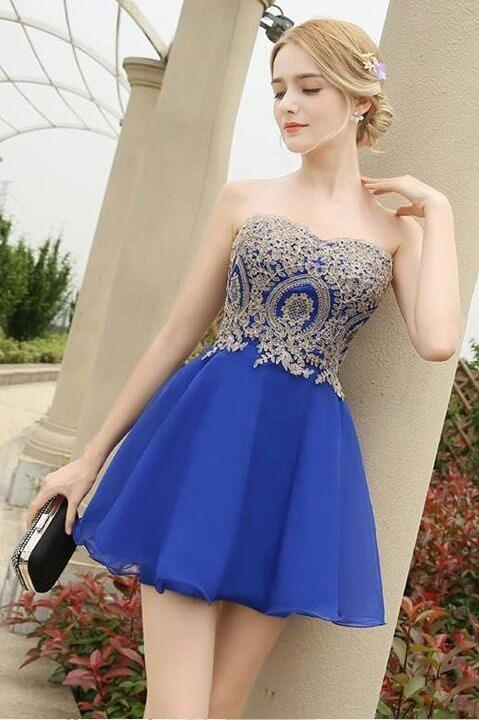 05a38894c272b 2018New Arrival Gold Lace Short Homecoming Dresses Royal Blue Prom Dresses  Off Shoulder Mini Cocktail Dress