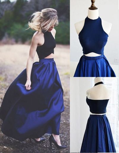Halter Neck Satin Prom Dresses Two Pieces Women Party Dresses 2018 ...