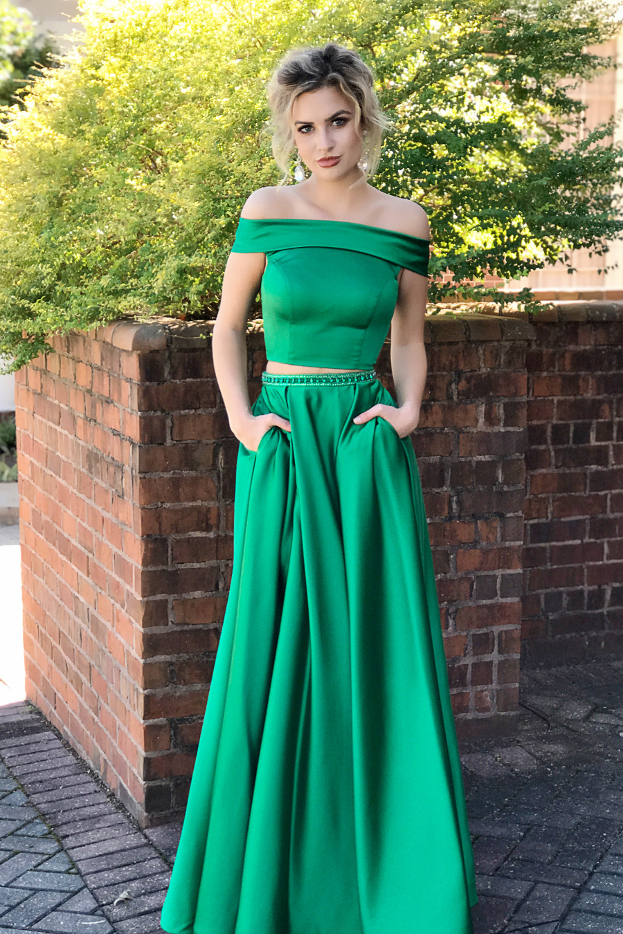 8b9e216eb0a Two Piece Off Shoulder Green Long Prom Dress With Pockets